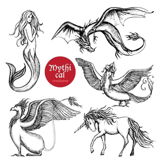 Conjunto de boceto dibujado a mano de criaturas míticas vector gratuito