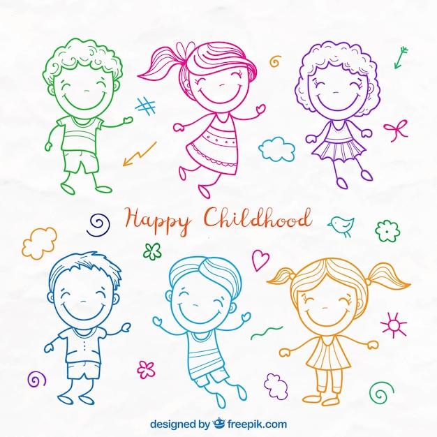 Conjunto de bocetos de colores de adorables niños vector gratuito
