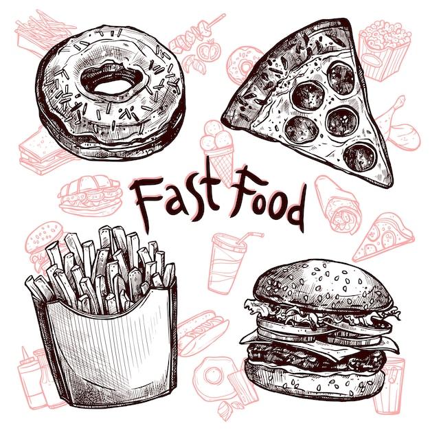 Conjunto de bocetos de comida rápida y bebidas. vector gratuito