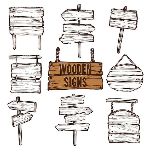 Conjunto de bocetos de letreros de madera vector gratuito