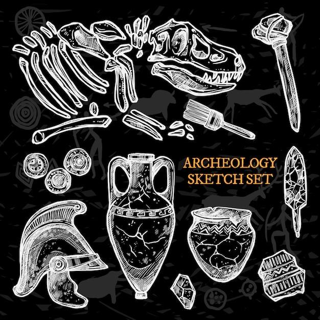 Conjunto de bocetos de pizarra de arqueología vector gratuito