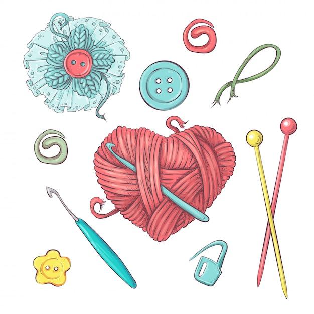 Conjunto para bola artesanal para crochet y tejido. Vector Premium