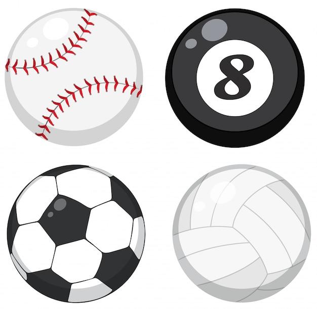 Conjunto de bolas diferentes vector gratuito