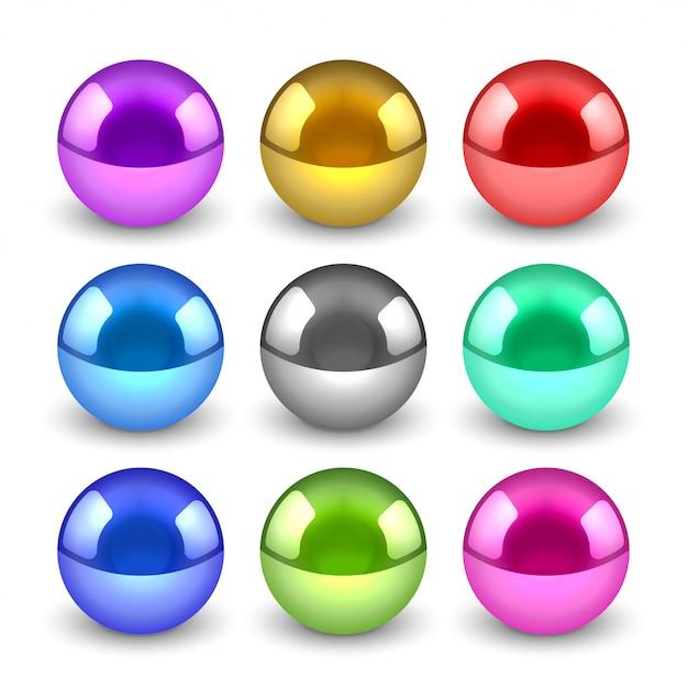 Conjunto de bolas metálicas brillantes 3d vector gratuito