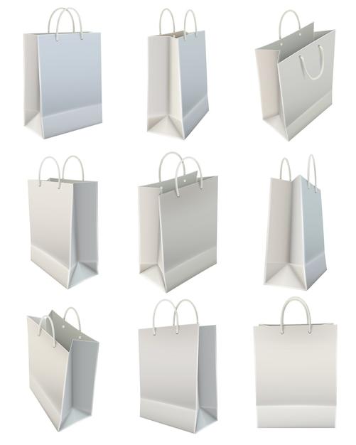 Conjunto de bolsa de compras de papel en blanco blanco vector gratuito