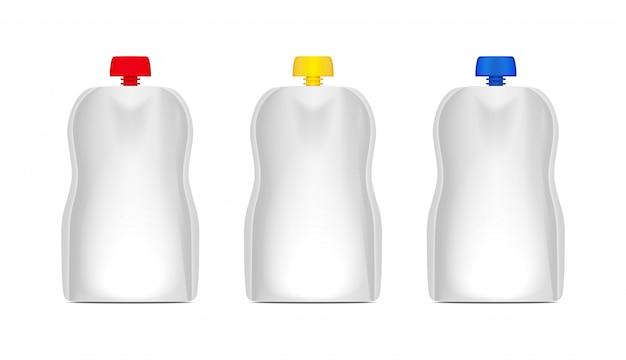 Conjunto de bolsa flexible en blanco con tapa para envasar bolsas de comida o bebida Vector Premium