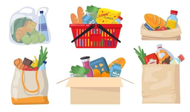 Conjunto de bolsas de la compra. paquetes de plástico y papel, canasta de supermercado con paquetes de alimentos, latas, pan, productos lácteos. ilustraciones vectoriales planas para compras, entrega de alimentos, concepto de caridad. vector gratuito