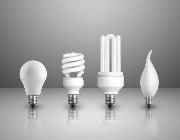 Conjunto de bombillas eléctricas realistas vector gratuito