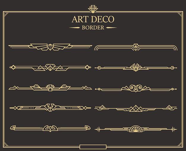 Conjunto de borde art deco Vector Premium
