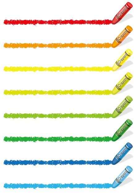 Conjunto de bordes de lápices de colores de colores aislados en un blanco. vector gratuito