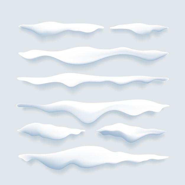 Conjunto de bordes de nieve realista Vector Premium