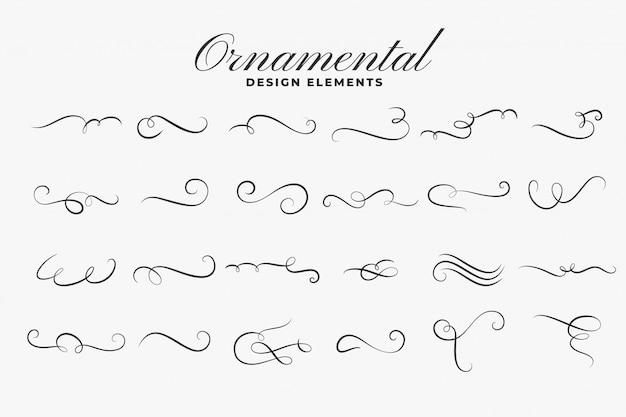 Conjunto de bordes o divisores de rizos ornamentales clásicos vector gratuito