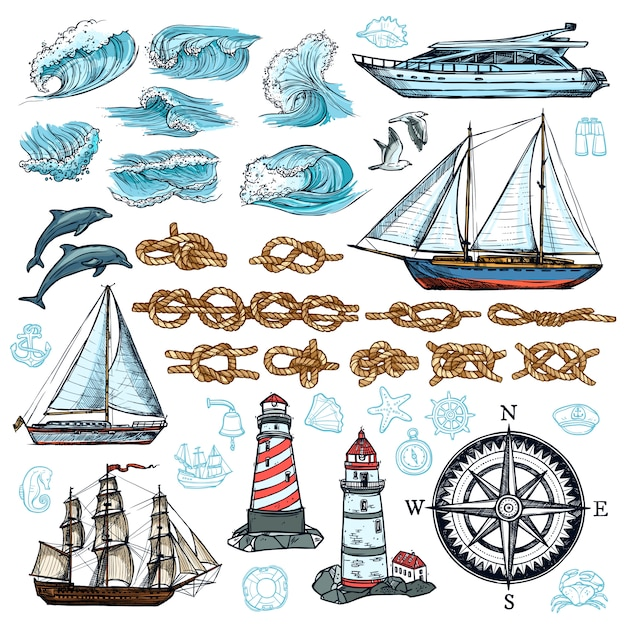 Conjunto de bosquejo marino vector gratuito