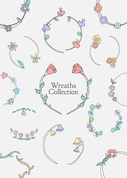 Conjunto botánico floral de la corona vector gratuito