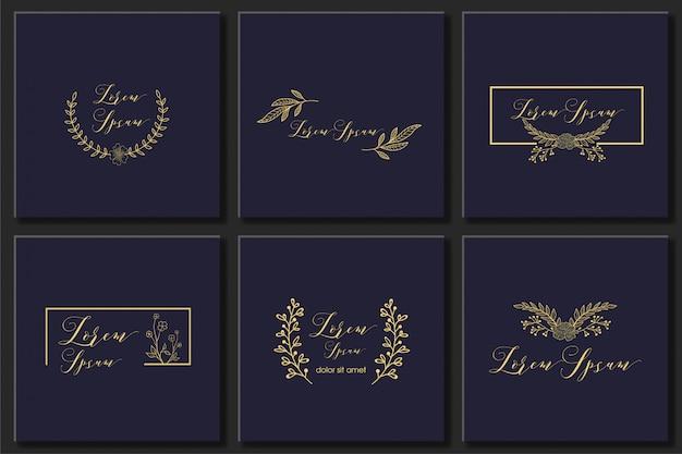 Conjunto botánico marco elemento diseño vectorial Vector Premium