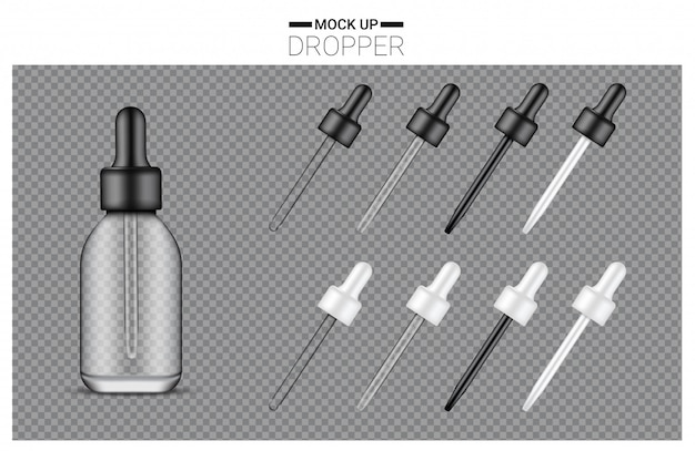 Conjunto de botella cuentagotas realista Vector Premium