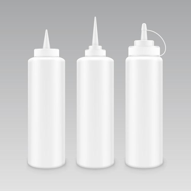 Conjunto de botella de ketchup de plástico en blanco Vector Premium