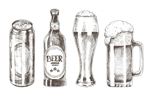 Conjunto de botellas y copas aislado en blanco Vector Premium