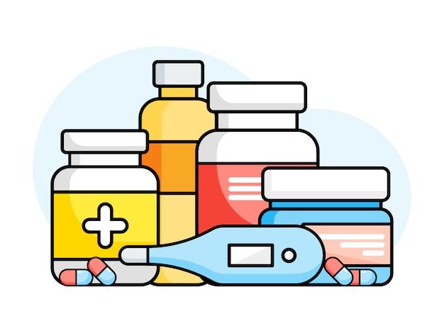 Conjunto de botellas de medicina con etiquetas y píldoras sobre un fondo blanco. medicamentos, tabletas, cápsulas de vitaminas, termómetro. ilustración de estilo plano. Vector Premium
