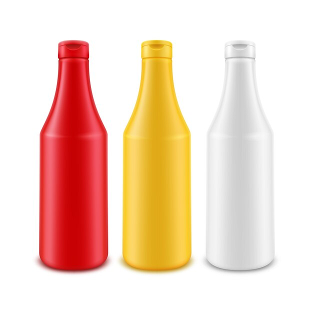 Conjunto de botellas de plástico en blanco aislado en blanco Vector Premium