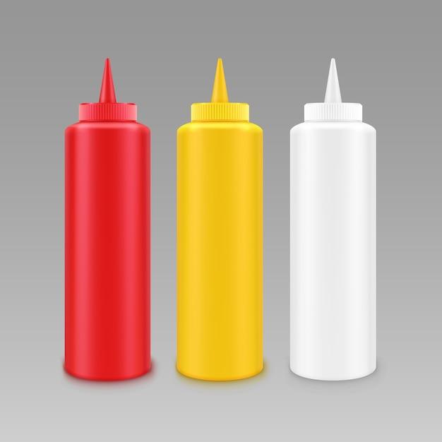 Conjunto de botellas de plástico en blanco Vector Premium