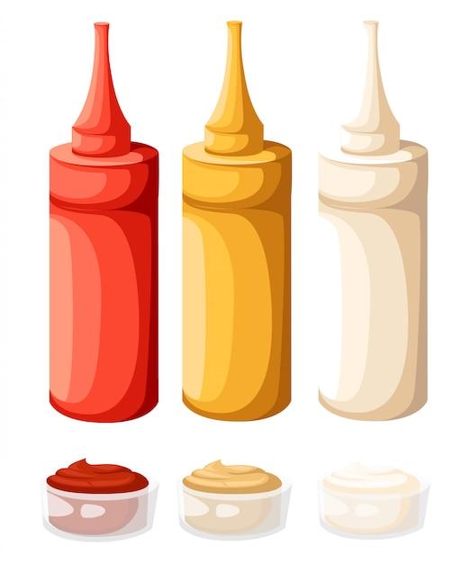 Conjunto de botellas de plástico de comida rápida de colores. ketchup, mayo, mostaza. ilustración en blanco. Vector Premium