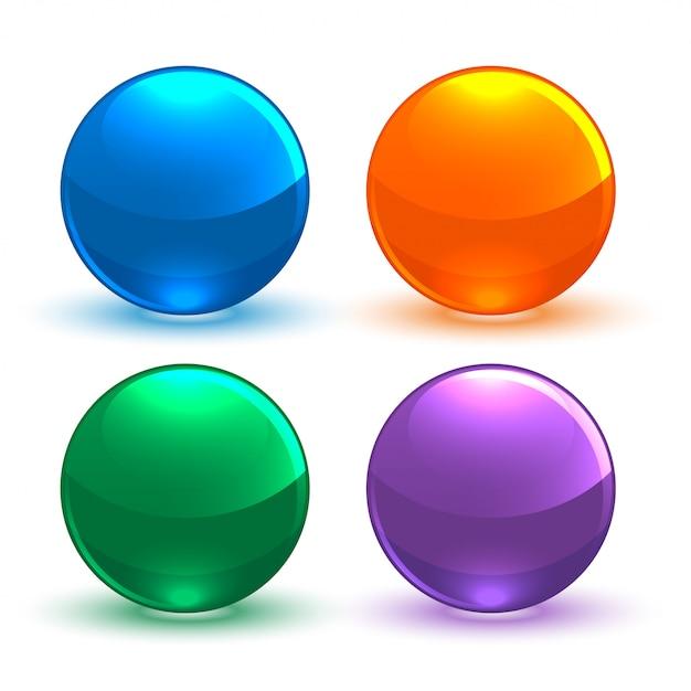 Conjunto de botón circular brillante vector gratuito