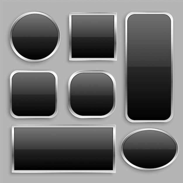 Conjunto de botón negro brillante con marco plateado. vector gratuito