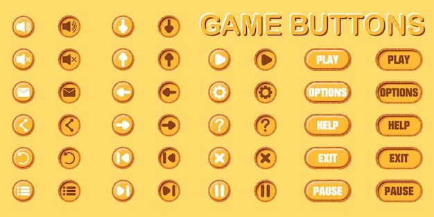 Conjunto de botones para diseño de juegos y aplicaciones. dos posiciones: original y prensado. Vector Premium