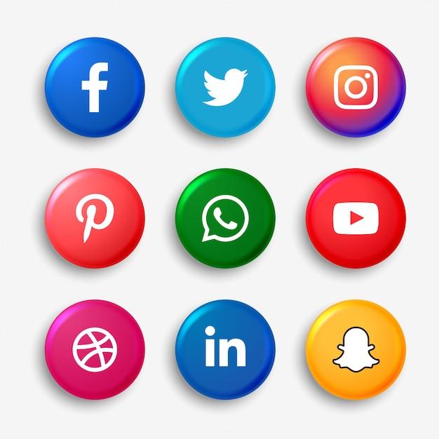 Conjunto de botones de logotipo de redes sociales vector gratuito