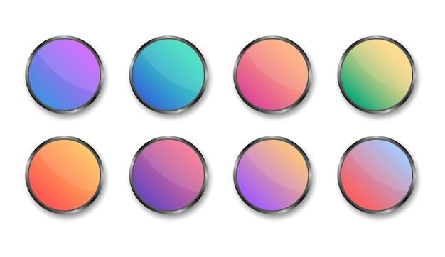 Conjunto de botones redondos de colores modernos. plantilla en blanco de botones metálicos web. para sitio web y ui. Vector Premium