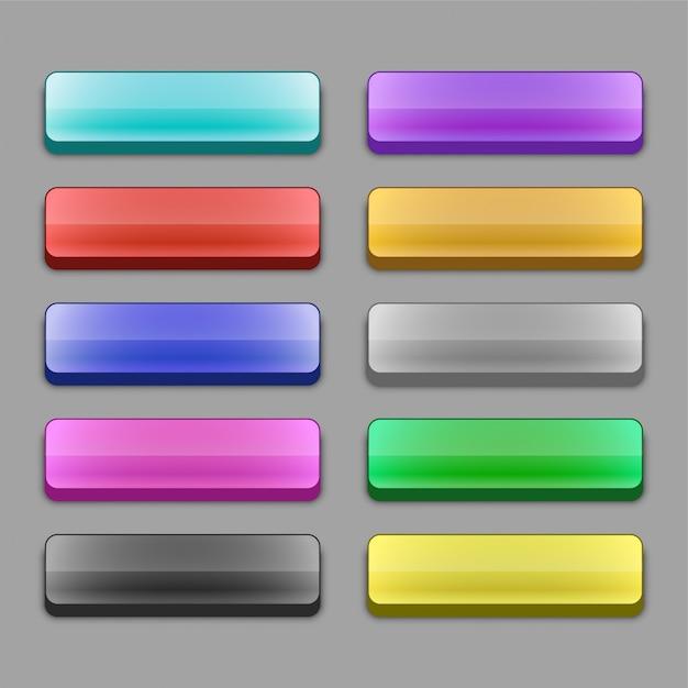Conjunto de botones de web amplia 3d vector gratuito