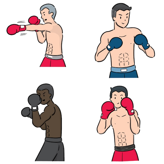 Conjunto de boxeador Vector Premium