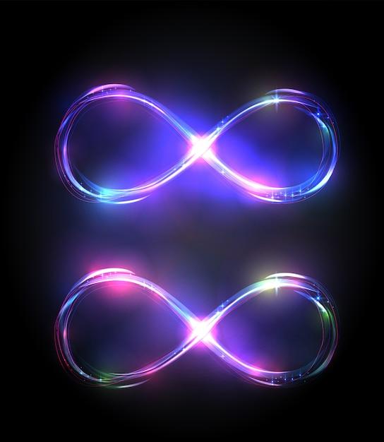 Conjunto de brillantes símbolos de infinito. violeta y púrpura signos brillantes. Vector Premium