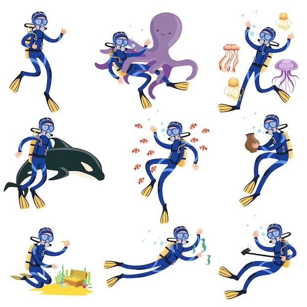 Conjunto de buceo y esnórquel, buceador en natación submarina y búsqueda de tesoros en el fondo del mar ilustraciones Vector Premium