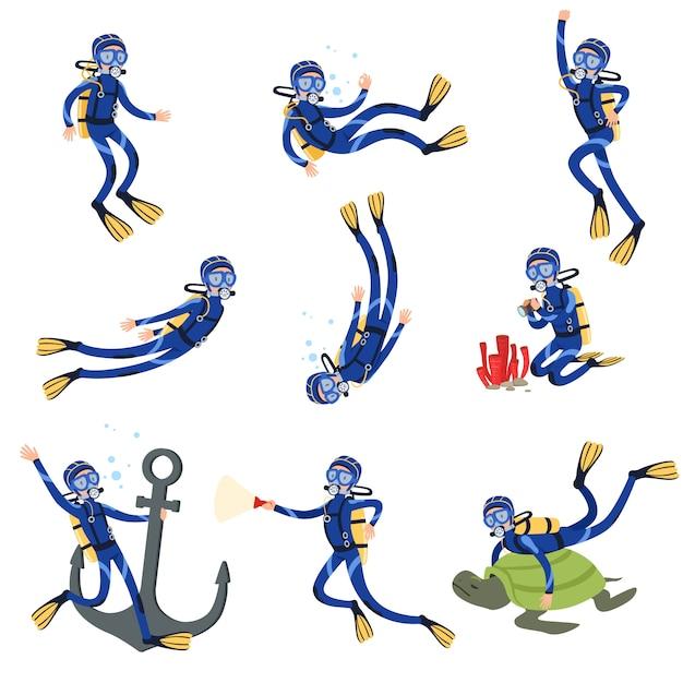 Conjunto de buceo y esnórquel, buzo en natación submarina en máscara de esnórquel y aletas ilustraciones Vector Premium