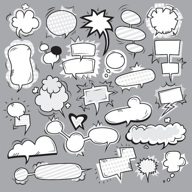 Conjunto de burbujas blancas pop art negro vector gratuito
