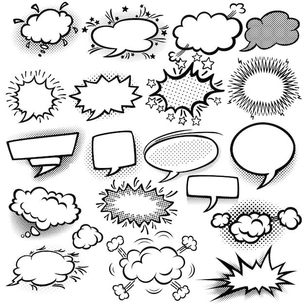 Conjunto de burbujas de comicas vacías vector gratuito