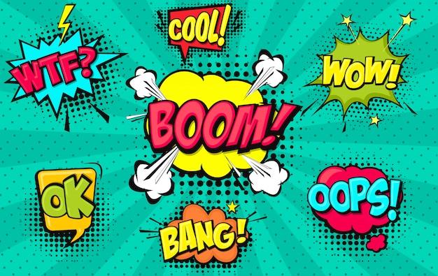 Conjunto de burbujas de discurso cómico Vector Premium