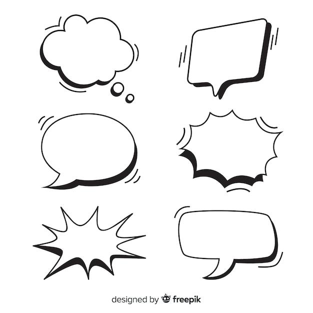 Conjunto de burbujas de discurso vacías para cómics vector gratuito