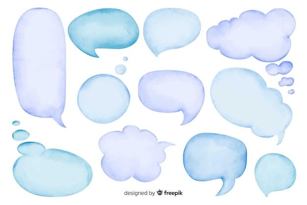 Conjunto De Burbujas De Discurso Vacío Acuarela Vector Gratis