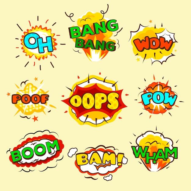 Conjunto de burbujas de explosión cómicas. vector gratuito