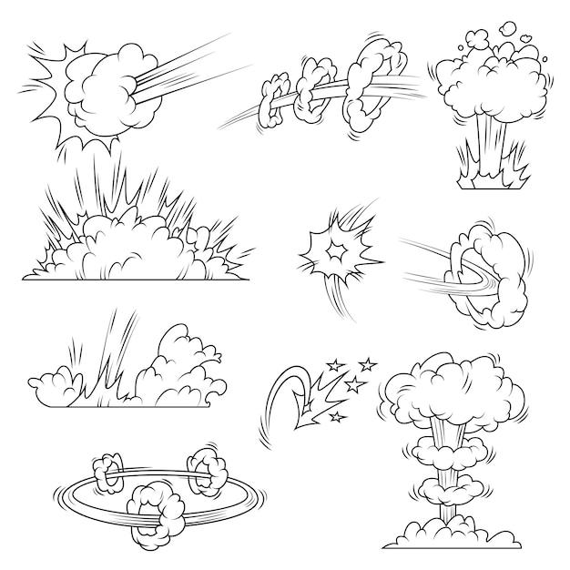 Conjunto de burbujas de explosión vector gratuito