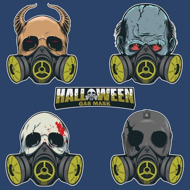 Conjunto de cabeza de calavera con máscara antigás. Vector Premium