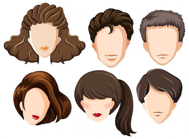 Conjunto de cabezas en blanco vector gratuito