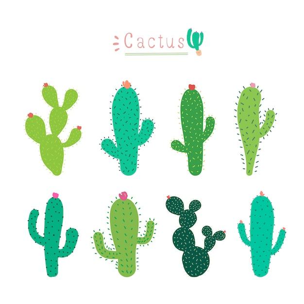 Conjunto De Cactus De Dibujos Animados Lindo Vector Premium