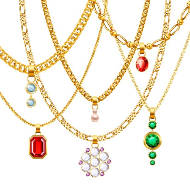 Conjunto de cadenas de joyas de oro. vector gratuito