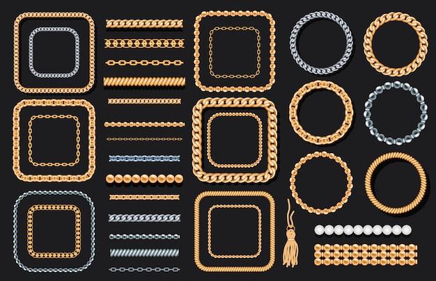 Conjunto de cadenas de oro y plata. Vector Premium