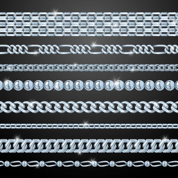 Conjunto de cadenas de plata vector gratuito