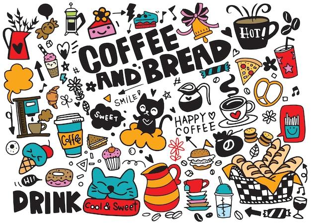 Conjunto de café dibujado a mano y deliciosos dulces ilustración colorfull Vector Premium